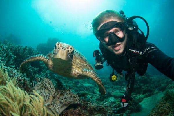 Dykker tager selfie med havskildpadde under vandet