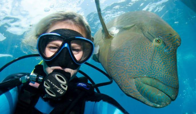 Dykker med mystisk fisk under vandet