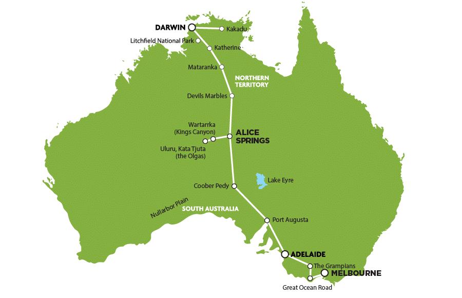 Rute med stop fra Darwin til Melbourne