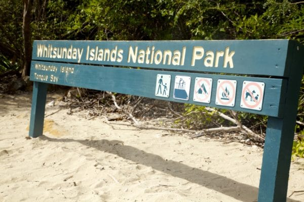 Whitsunday Islands National Park skilt
