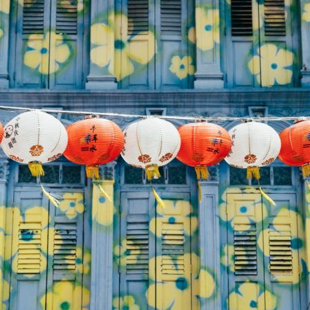 Japanske lamper på række