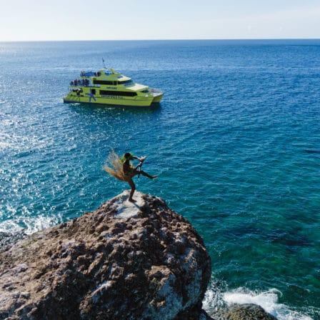Havudsigt over havet fra stor sten