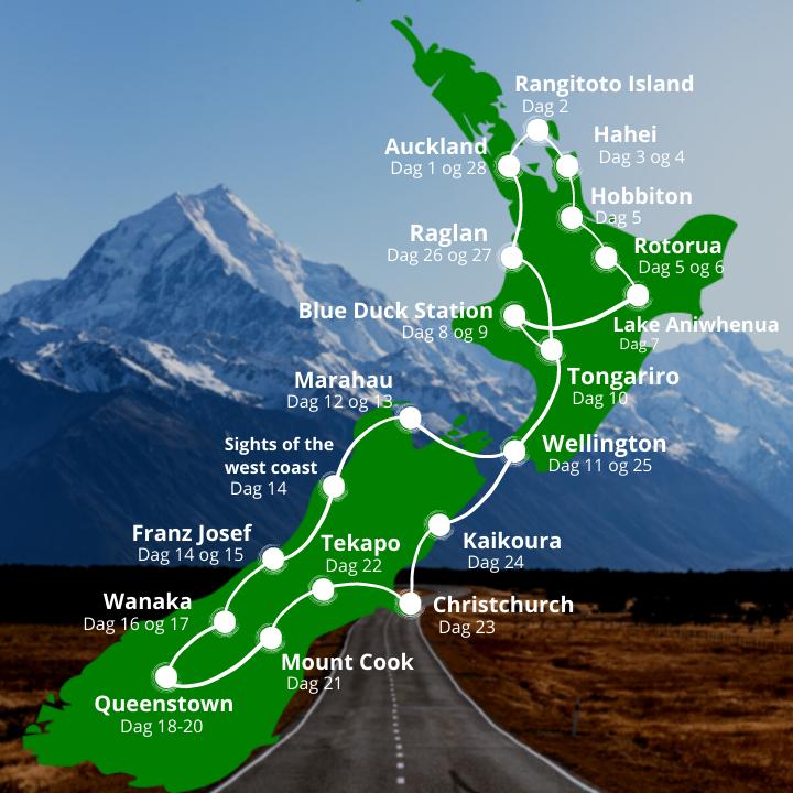 New Zealand Grupperejse kort